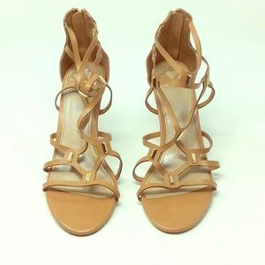 Strappy Brown Open Toe Heels Size 9